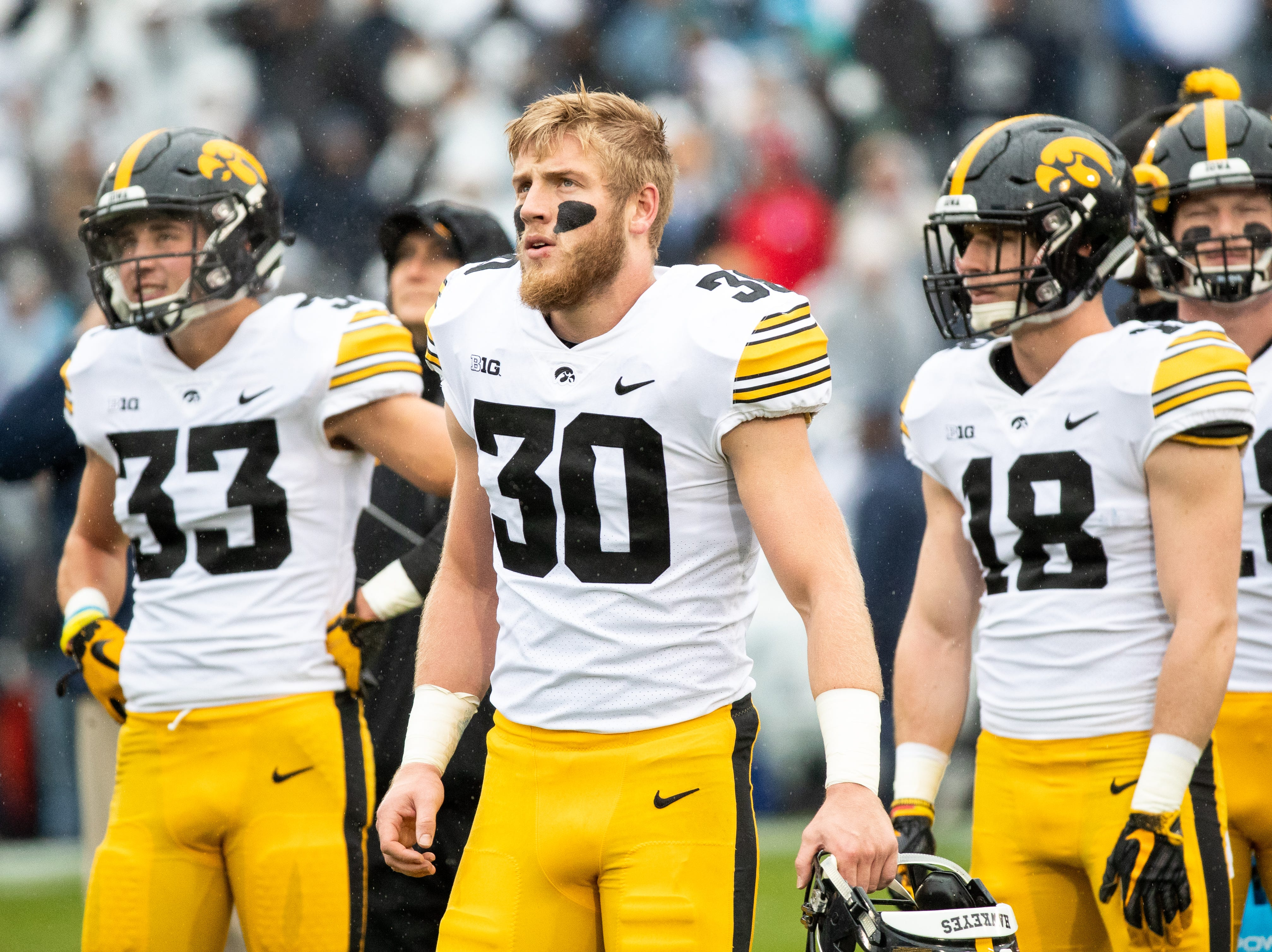 Jake Gervase #30 of the Iowa Hawkeyes before the start of a game against the Penn State Nittany Lions at of Beaver Stadium on Saturday, October 27, 2018, in State College, Pennsylvania.at of Beaver Stadium on Saturday, October 27, 2018, in State College, Pennsylvania.