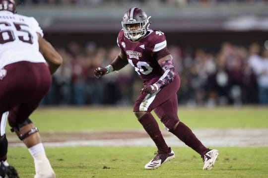 MississippI State LB Erroll Thompson in action in a NCAA college football game between Texas A&M and Mississippi State Saturday, Oct. 27, 2018, in Starkville,MS.