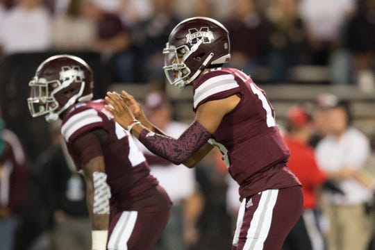 MississippI State QB Keytaon Thompson in action in a NCAA college football game between Texas A&M and Mississippi State Saturday, Oct. 27, 2018, in Starkville,MS.