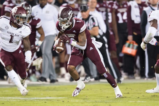 MississippI State WR Stephen Guidry catches a pass for a gain in an NCAA college football game Saturday, Oct. 27, 2018, in Starkville,MS between Texas A&M and Mississippi State.