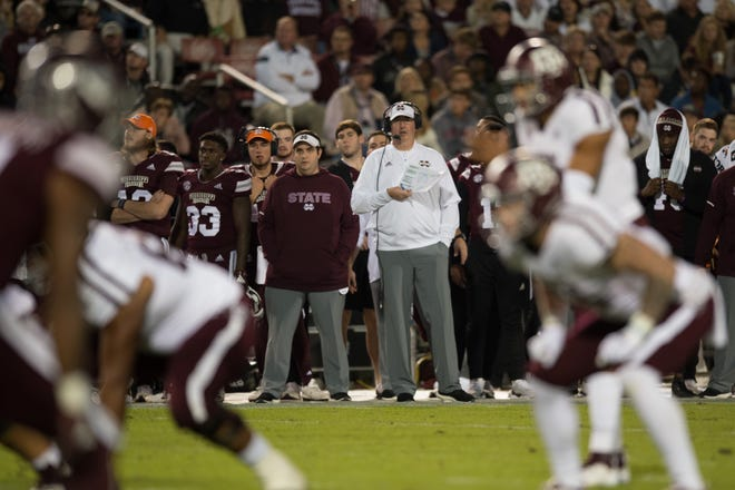 Joe Moorhead looks on during the Texas A&M and Mississippi State game Saturday, Oct. 27, 2018, in Starkville,MS.
