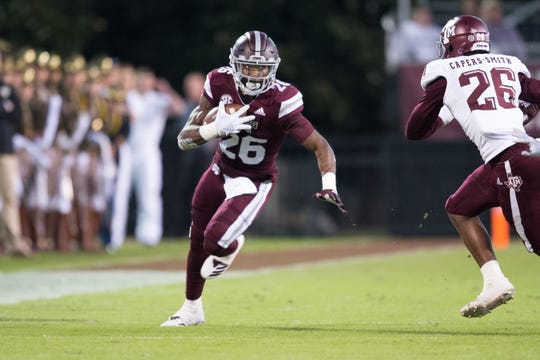 MississippI State RB Aeris Williams in action in a NCAA college football game between Texas A&M and Mississippi State Saturday, Oct. 27, 2018, in Starkville,MS.