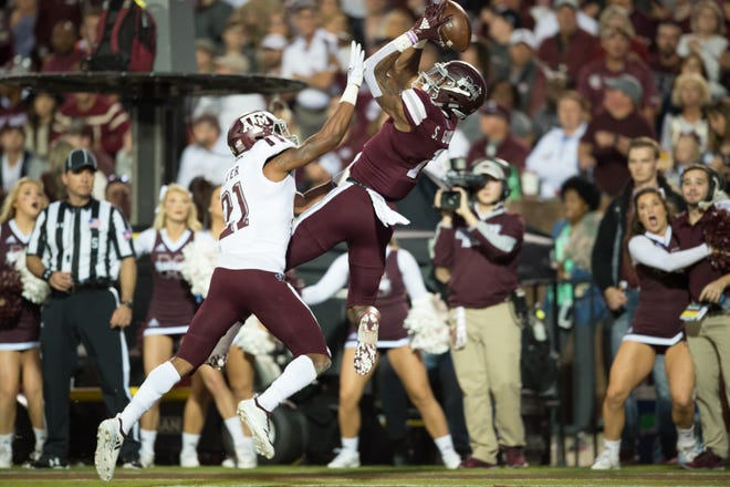 MississippI State WR Stephen Guidry catches Mississippi State's lone touchdown pass in the first half of the Texas A&M and Mississippi State game Saturday, Oct. 27, 2018, in Starkville,MS