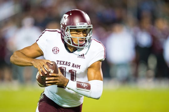 Texas A&M QB Kellen Mond runs for a gain in an NCAA college football game Saturday, Oct. 27, 2018, in Starkville,MS between Texas A&M and Mississippi State.