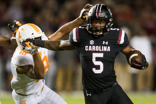South Carolina running back Rico Dowdle (5) runs the ball during a game between Tennessee and South Carolina at Williams-Brice Stadium Saturday, Oct. 27, 2018.