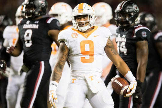 Tennessee running back Tim Jordan (9) celebrates after making a long run during a game between Tennessee and South Carolina at Williams-Brice Stadium in Columbia, South Carolina on Saturday, October 27, 2018.