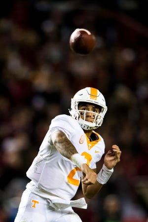 Tennessee quarterback Jarrett Guarantano (2) throws a pass during a game between Tennessee and South Carolina at Williams-Brice Stadium in Columbia, South Carolina on Saturday, October 27, 2018.