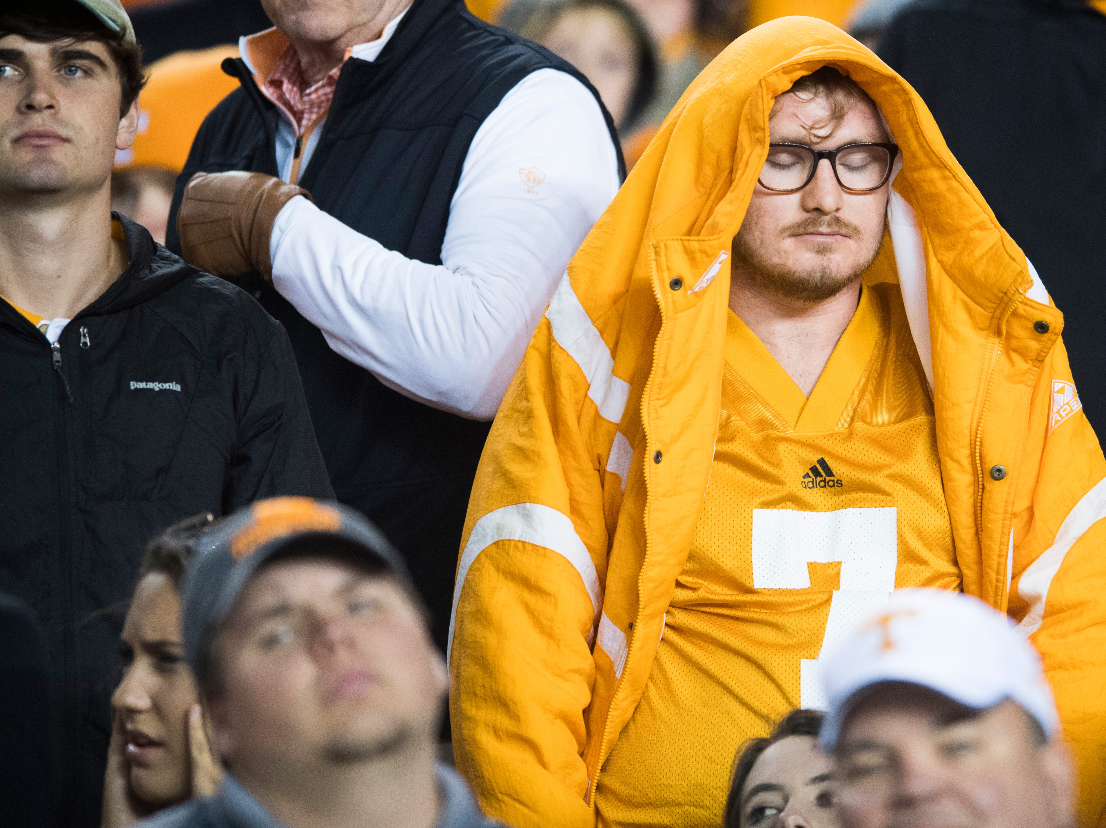 A Tennessee fan reacts to a play during a game between Tennessee and South Carolina at Williams-Brice Stadium in Columbia, South Carolina on Saturday, October 27, 2018.