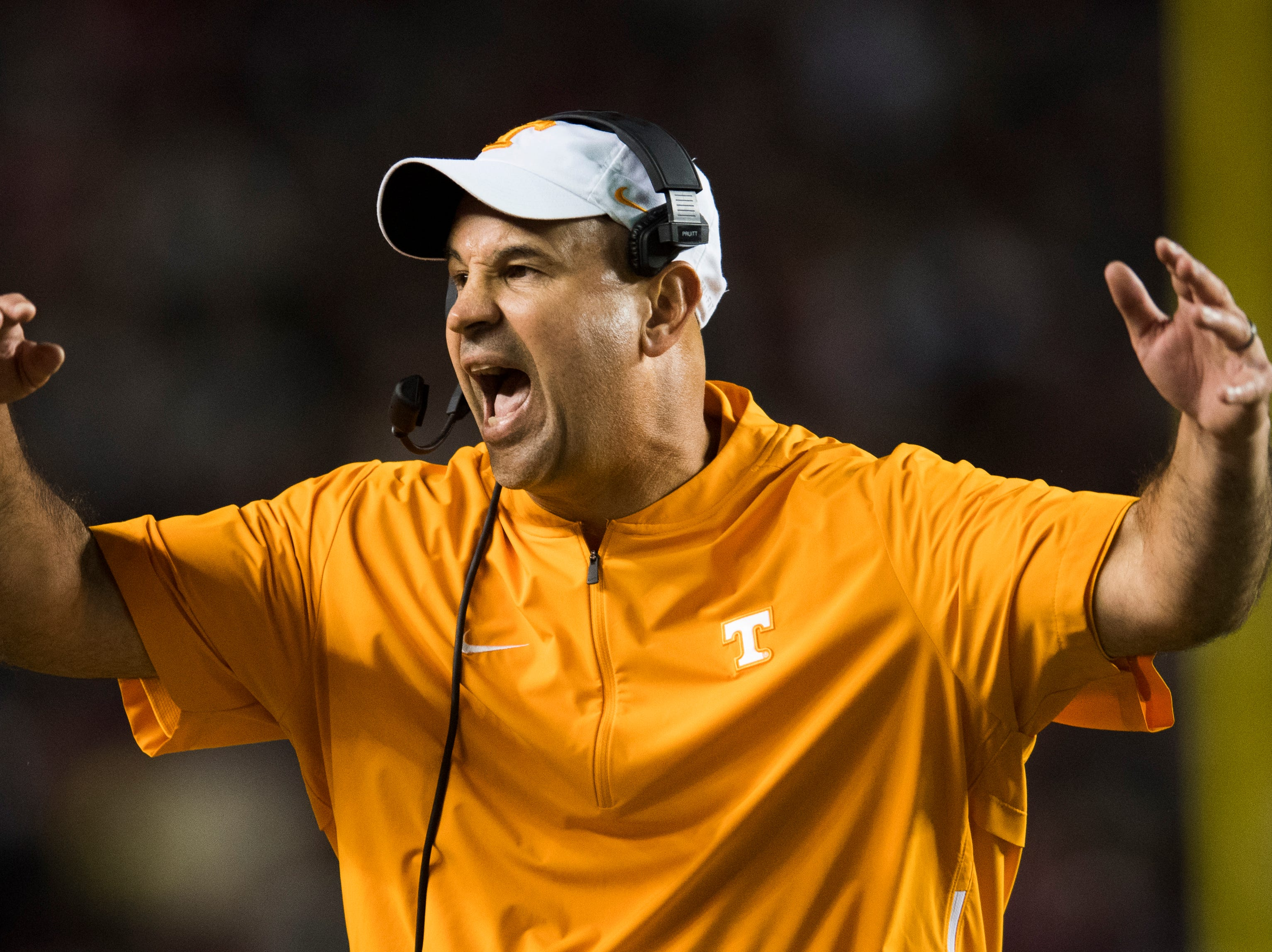 Tennessee head coach Jeremy Pruitt calls out to the field during a game between Tennessee and South Carolina at Williams-Brice Stadium in Columbia, South Carolina, on Saturday, October 27, 2018.