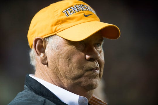 Tennessee athletic director Philip Fulmer reacts to Tennessee quarterback Jarrett Guarantano (2) getting sacked on a fourth down in the final minutes of a game between Tennessee and South Carolina at Williams-Brice Stadium Saturday, Oct. 27, 2018. South Carolina defeated Tennessee 27-24.