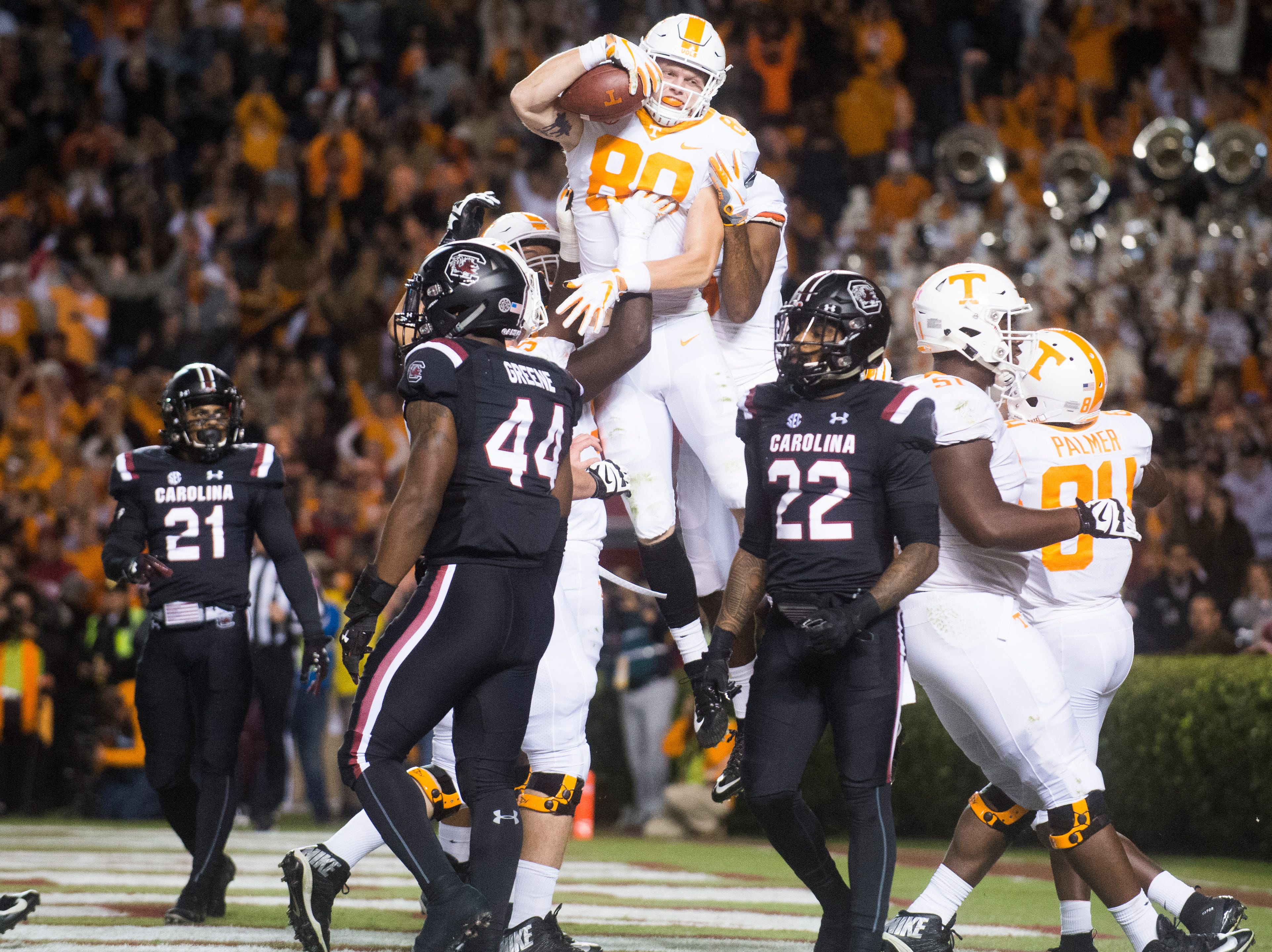 Tennessee tight end Eli Wolf (80) is congratulated after making the first touchdown of the game during the first quarter against  South Carolina at Williams-Brice Stadium in Columbia, South Carolina on Saturday, October 27, 2018.