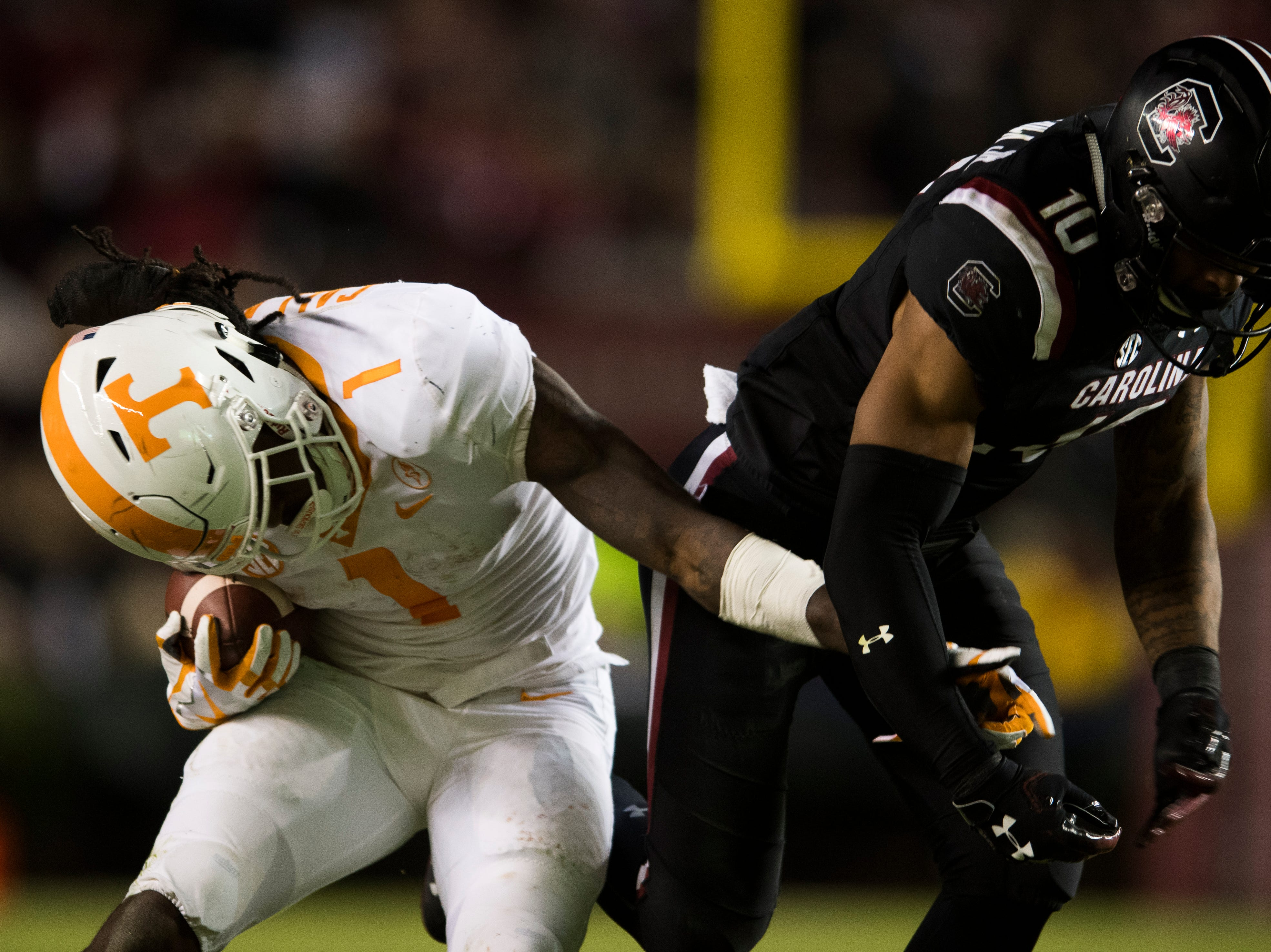 Tennessee wide receiver Marquez Callaway (1) tries to push away South Carolina defensive back R.J. Roderick (10) during a game between Tennessee and South Carolina at Williams-Brice Stadium in Columbia, South Carolina on Saturday, October 27, 2018.
