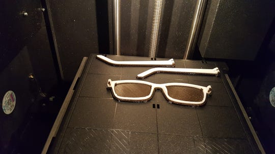 A prototype of the 3D-printed eyeglasses created by the LSU team.