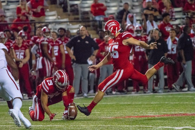UL's Kyle Pfau nails an extra point during the Cajuns' 47-43 win over Arkansas State last Saturday at Cajun Field.