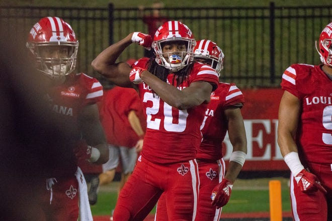 UL's Jarrod Jackson celebrates after his touchdown as the Ragin' Cajuns take on the Arkansas State Red Wolves at Cajun Field on Oct. 27, 2018.