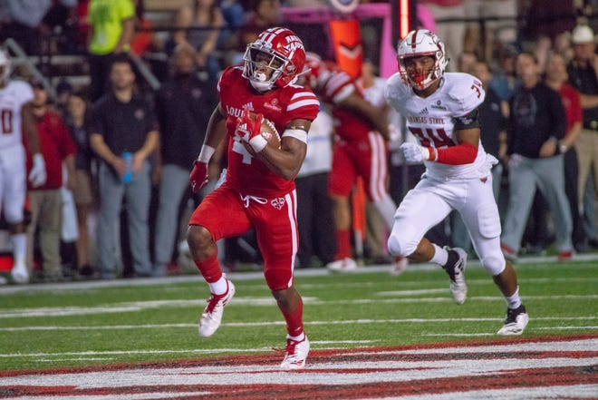 UL running back Raymond Calais Jr. rushes downfield in last Saturday's 47-43 win over Arkansas State.