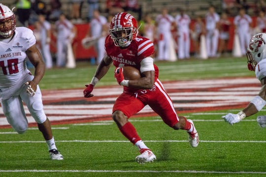 UL's Raymond Calais Jr. rushes downfield in a win over Arkansas State last month at Cajun Field.