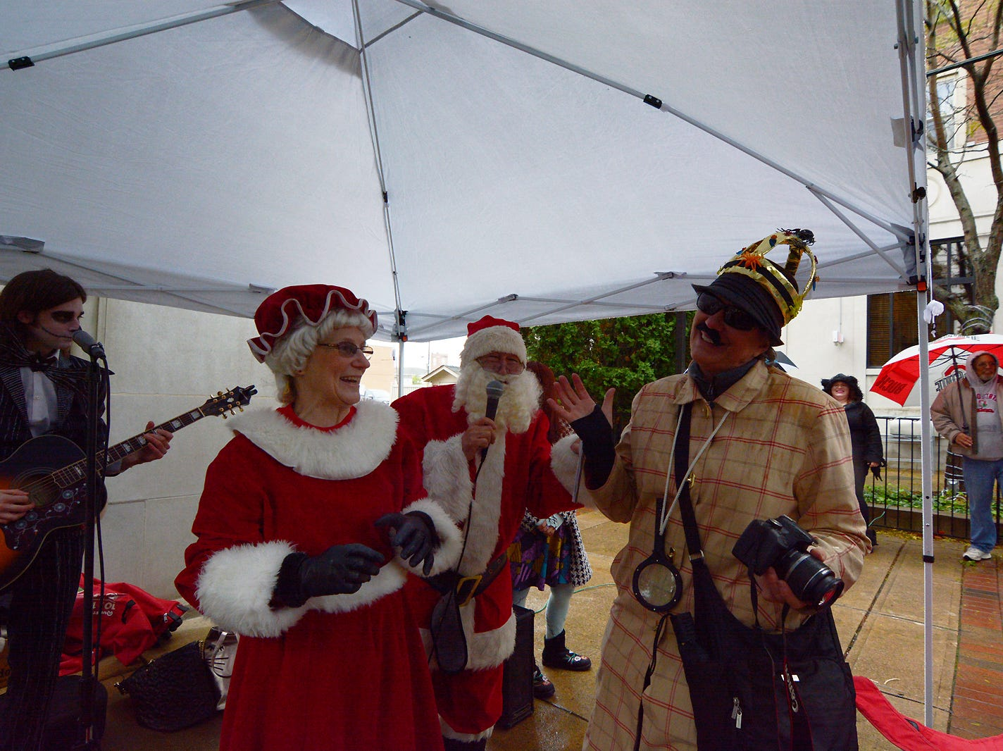 Debbie Nixon was chosen as King of the Lancaster Holloween Parade Saturday evening by Santa and Mrs. Claus.