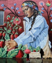 A mural created by Dine (Navajo) and Chicana artist Nanibah Chacon in Lansing's Old Town neighborhood.  ​  ​