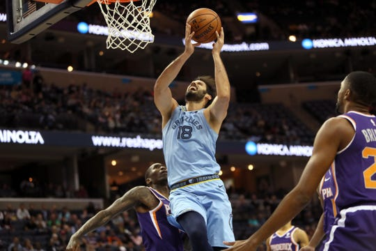 Memphis Grizzlies center Omri Casspi makes a shot while being fouled against the Phoenix Suns during their game at FedExForum on Saturday, Oct. 27, 2018.