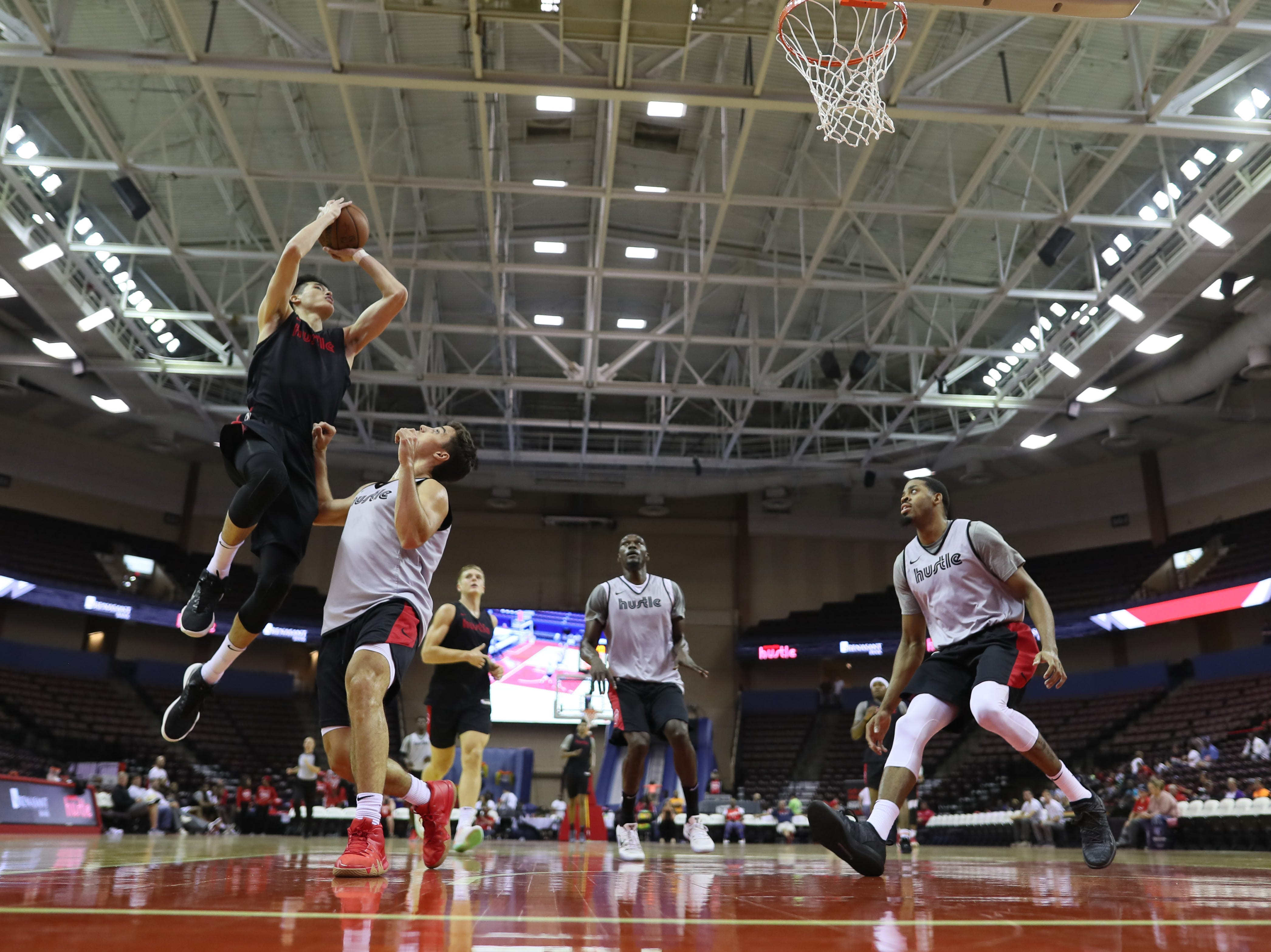 Memphis Hustle forward Yuta Watanabe puts up a shot as the team scrimmages during the Family Fun Day at the Landers Center on Sunday, Oct. 28, 2018.