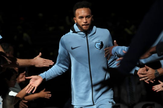Memphis Grizzlies Kyle Anderson in announced before their game against the Phoenix Suns at FedExForum on Saturday, Oct. 27, 2018.