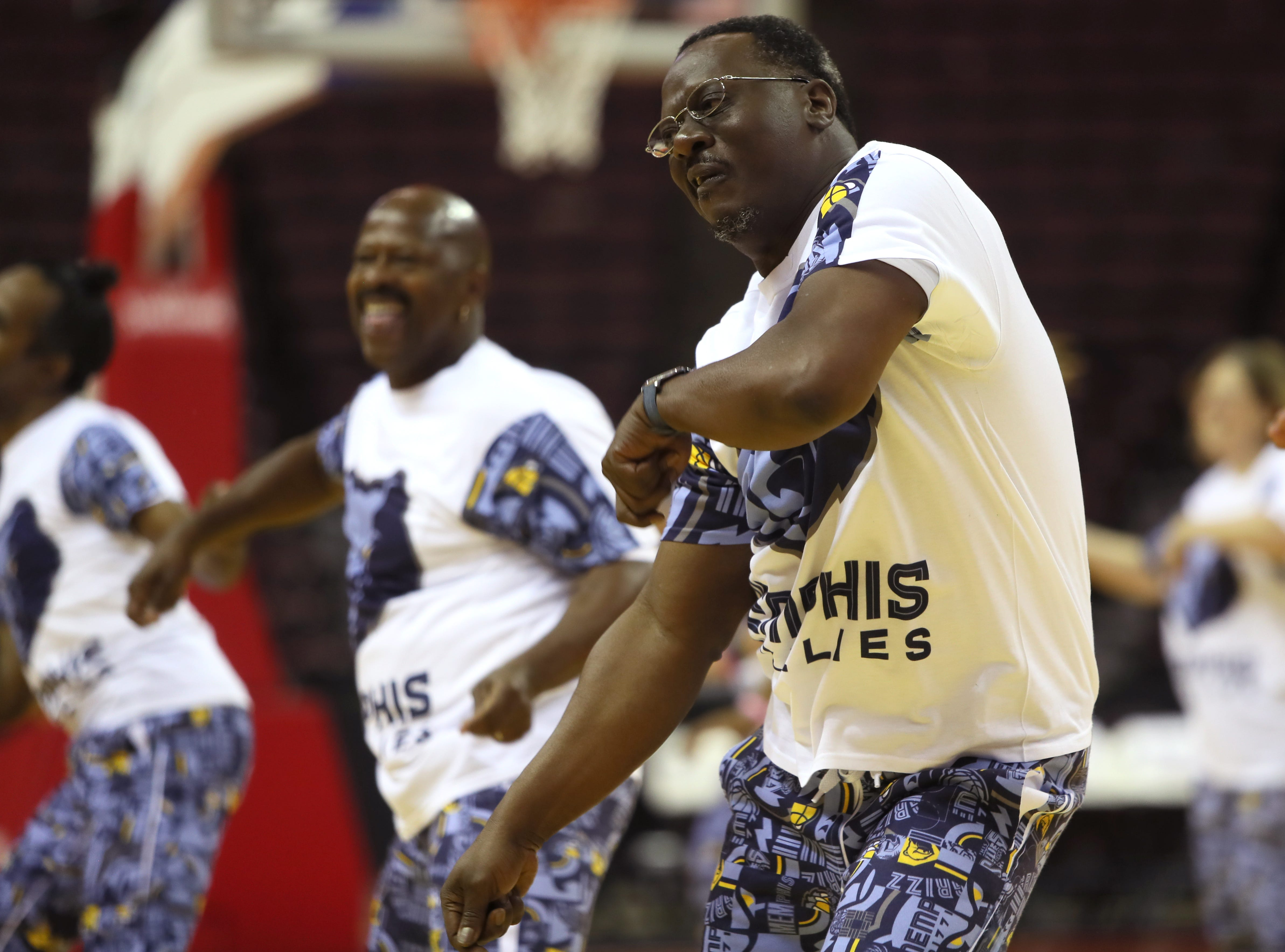 The Grizzlies Grannies and Grandpas put on a dance show during the Memphis Hustle Family Fun Day at the Landers Center on Sunday, Oct. 28, 2018.