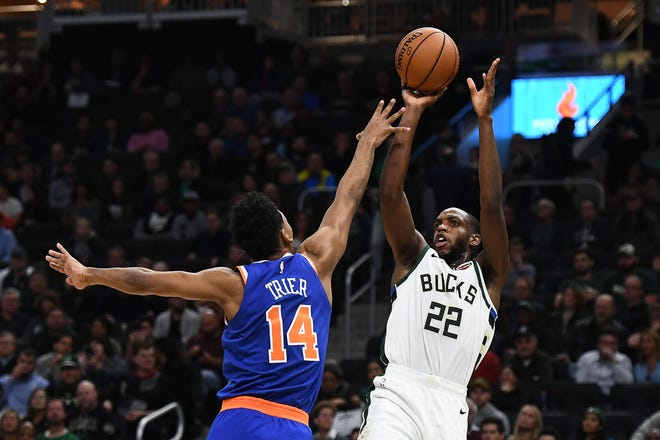 Khris Middleton is shooting 57.1% from three-point range over six games.