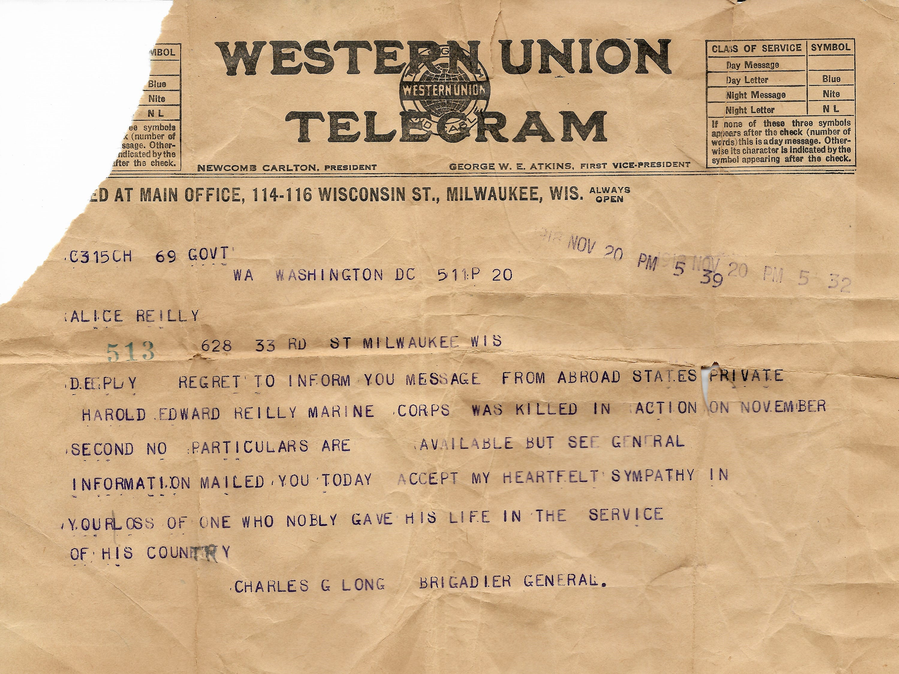 On Nov. 20,1918, nine days after the end of World War I, the Reilly family received a telegram informing them that Harold Reilly died in battle on Nov. 2. Reilly left Marquette University in May, 1917 to enlist in the U.S. Marines where he was assigned to the 81st Co., 6th Machine Gun Battalion. His unit arrived in France on Dec. 28, 1917. In September, 1918 was wounded and hospitalized until Oct. 31 and returned to his unit. On Nov. 2 Reilly died by artillery, nine days before the end of World War 1. Reilly's parents did not learn of their loss until Nov. 20.