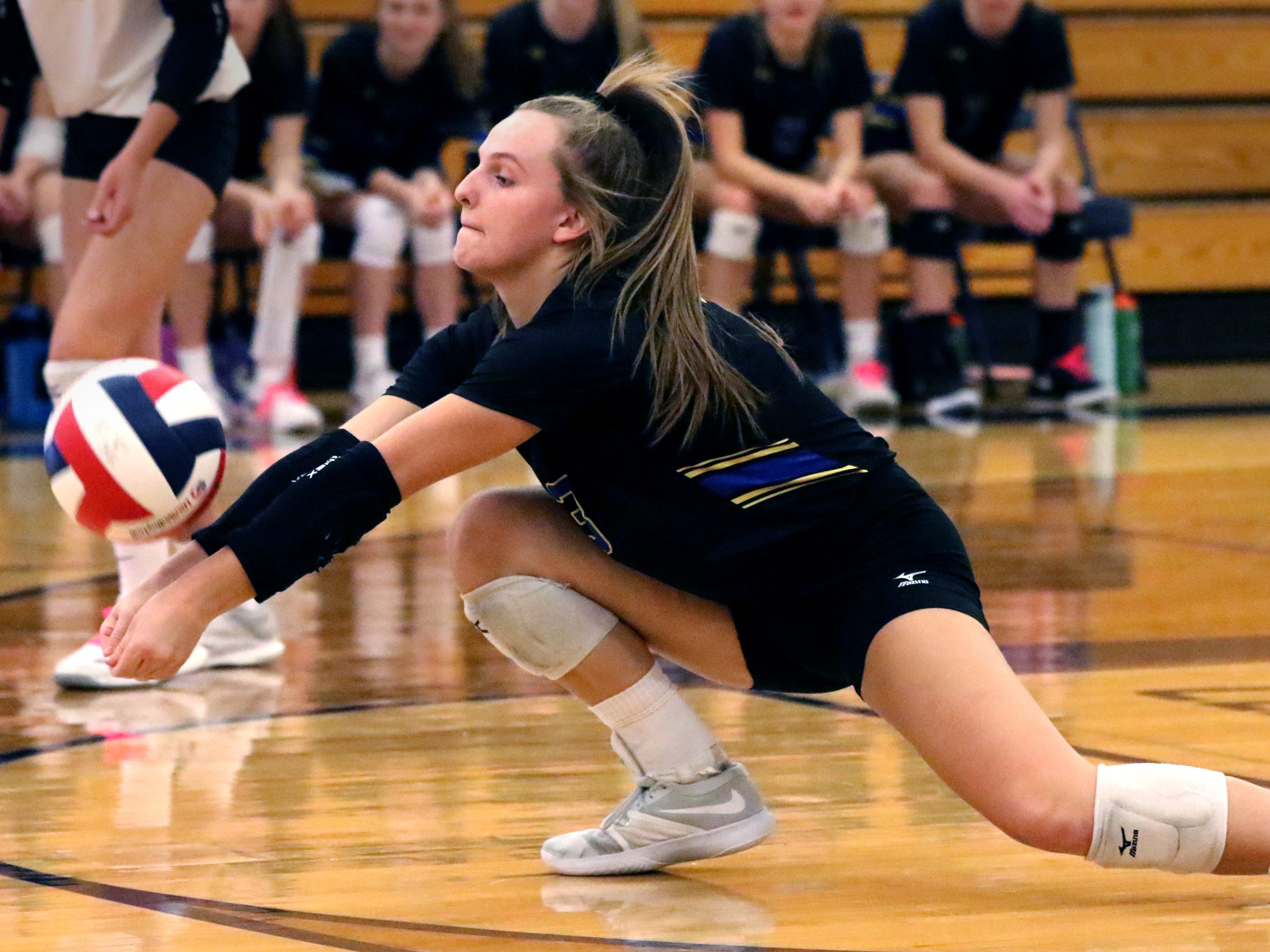 Mukwonago's Erin Powers digs a Waukesha West serve during a WIAA Division 1 sectional final at Kettle Moraine on Oct. 27. Mukwonago's season came to an end after falling in four sets to the Wolverines.