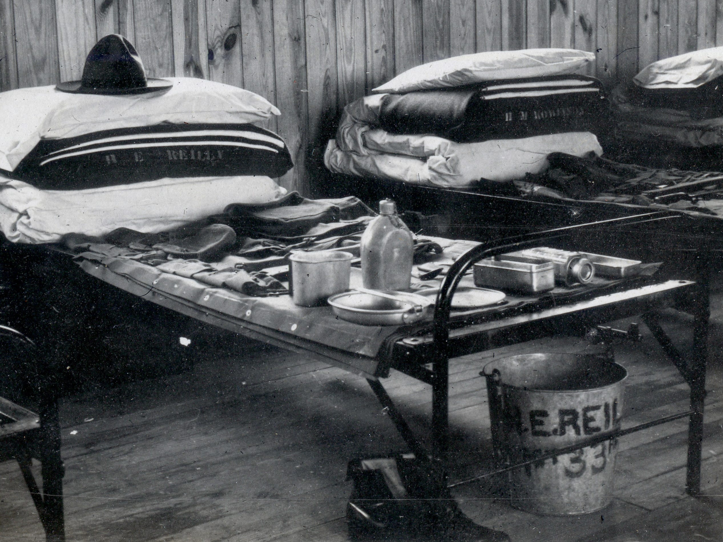 Harold Reilly's equipment laid out for inspection while at Quantico, VA. Reilly left Marquette University in May 1917 to enlist in the U.S. Marines where he was assigned to the 81st Co., 6th Machine Gun Battalion. His unit arrived in France on Dec. 28, 1917. In September 1918, he was wounded and hospitalized until Oct. 31 and returned to his unit. On Nov. 2 Reilly died by artillery, nine days before the end of World War 1. Reilly's parents did not learn of their loss until Nov. 20.