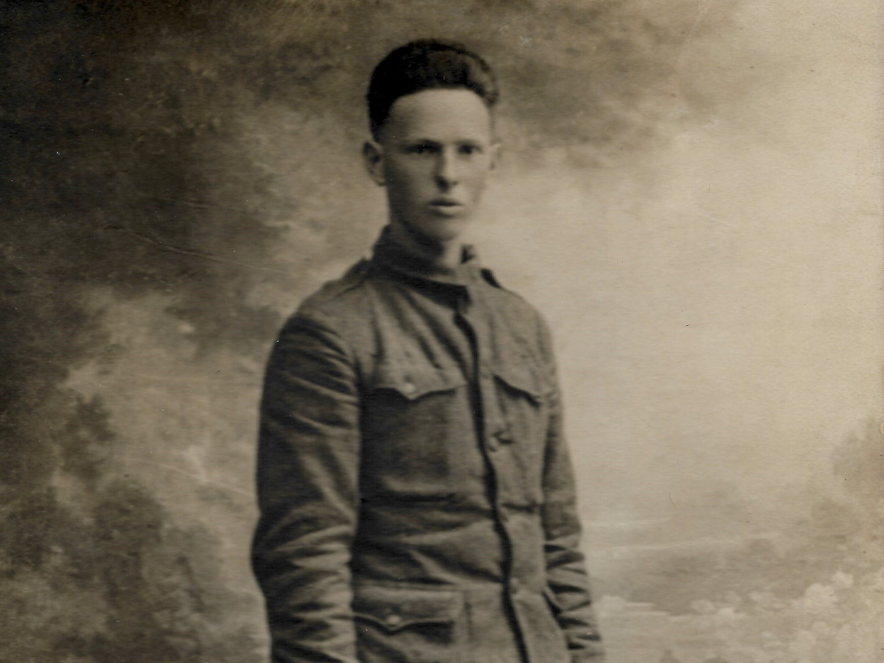 In August 1918, Harold Reilly sent home a portrait he had made in a French studio and in the letter apologized for his appearance. Reilly left Marquette University in May 1917 to enlist in the U.S. Marines where he was assigned to the 81st Co., 6th Machine Gun Battalion. His unit arrived in France on Dec. 28, 1917.