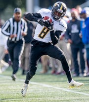 Alabama State University wide receiver Tyrek Allen (8) catches a long pass against Alabama A&M at Legion Field in Birmingham, Ala., during the Magic City Classic on Saturday October 27, 2018.