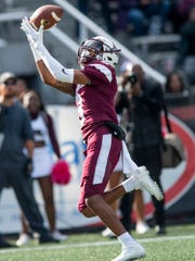 Alabama A&M wide receiver Nathaniel Dell (3) catches a touchdown pass against Alabama State University at Legion Field in Birmingham, Ala., during the Magic City Classic on Saturday October 27, 2018.