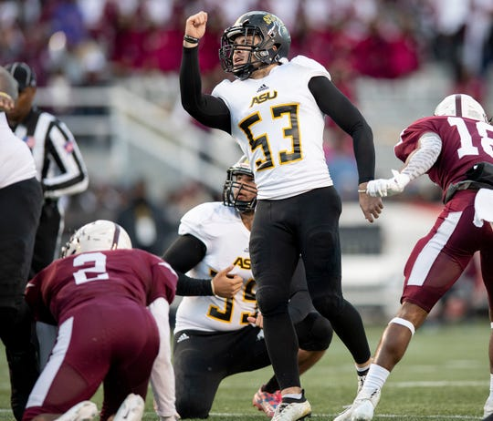 Alabama State University kicker Hunter Hanson (53) a field goal late against Alabama A&M at Legion Field in Birmingham, Ala., during the Magic City Classic on Saturday October 27, 2018.