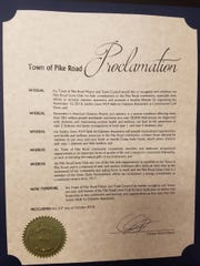 The town of Pike Road presented a proclamation honoring the Pike Road Lions Club for hosting the first Strides Walk for Diabetes Awareness on Nov. 10
