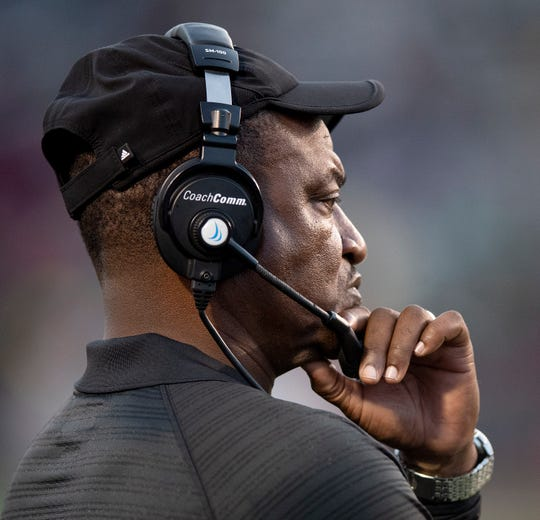 Alabama State University head football coach Donald  Hill-Eley at Legion Field in Birmingham, Ala., during the Magic City Classic on Saturday October 27, 2018.
