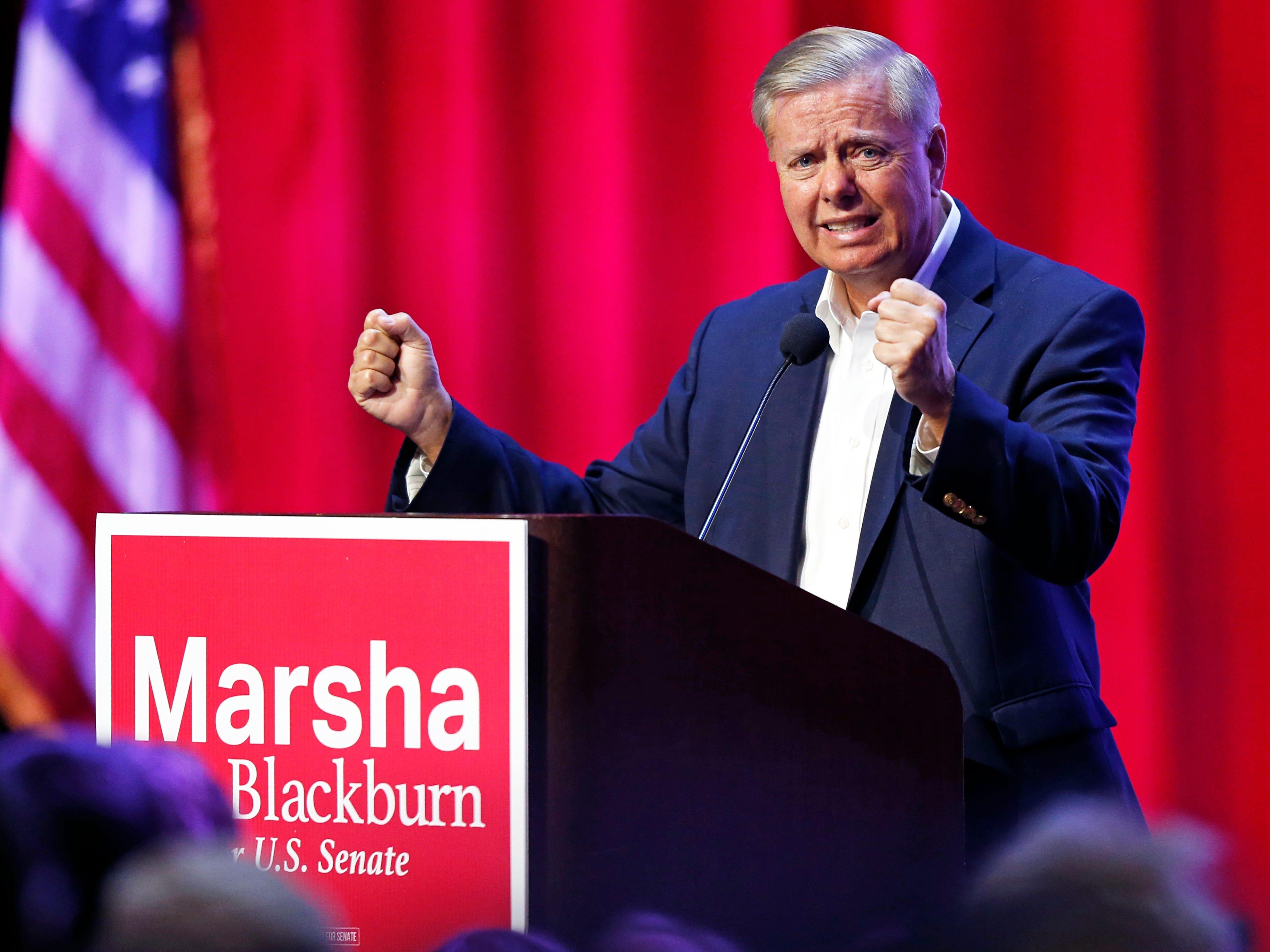 U.S. Sen.Lindsey Graham, R-S.C., gestures as he speaks during a campaign event for Republican U.S. Senate candidate Marsha Blackburn Sunday, Oct. 28, 2018, in Nashville, Tenn.