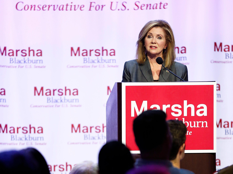 Republican U.S. Senate candidate Marsha Blackburn speaks during a campaign event Sunday, Oct. 28, 2018, in Nashville, Tenn.