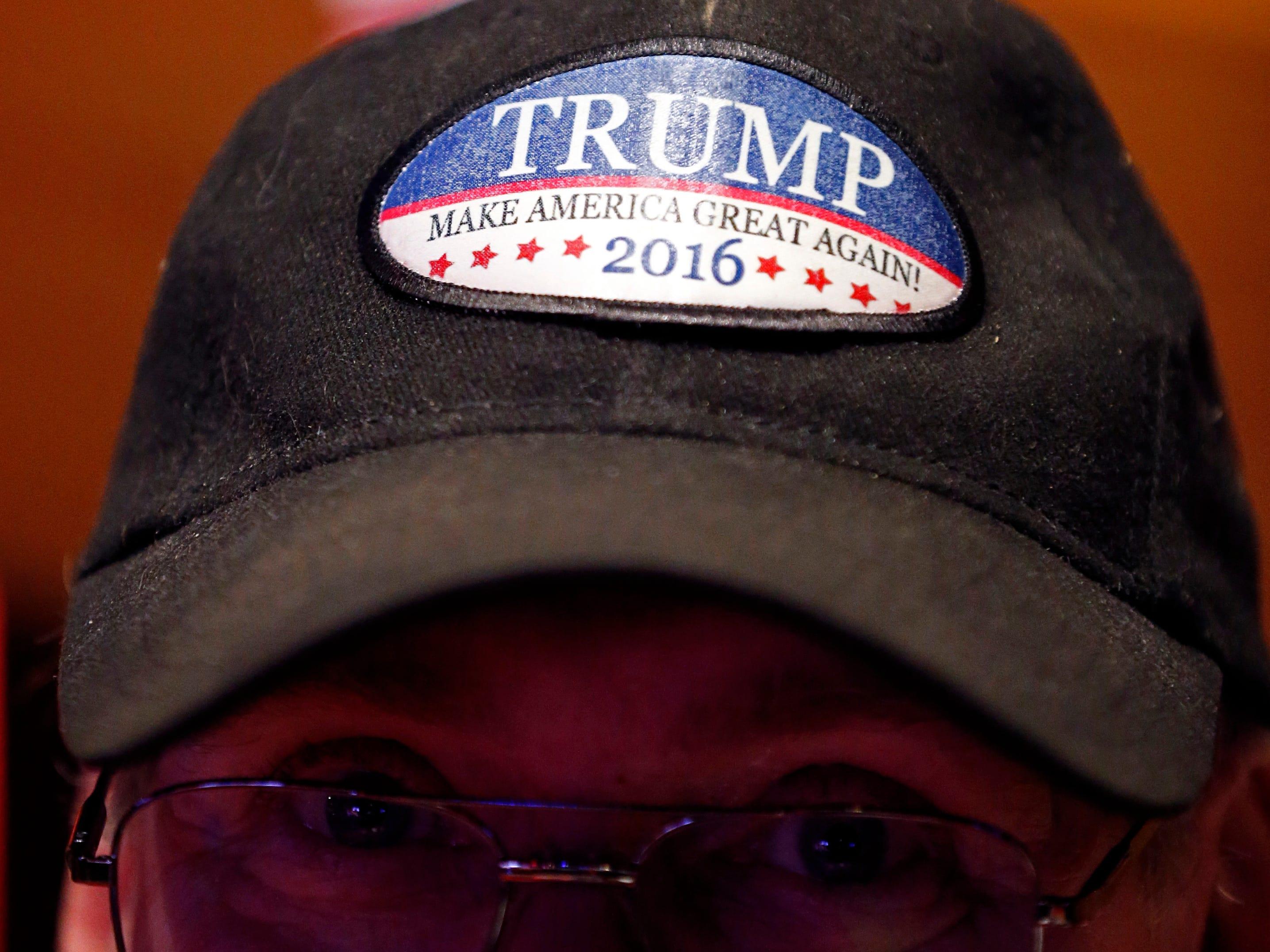 David Blair of Hendersonville, Tenn., wears a Trump hat during a campaign event for Republican U.S. Senate candidate Marsha Blackburn Sunday, Oct. 28, 2018, in Nashville, Tenn.