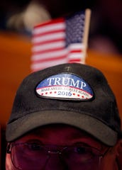 David Blair of Hendersonville, Tenn., wears a Trump hat during a campaign event for Republican U.S. Senate candidate Marsha Blackburn Sunday, Oct. 28, 2018, in Nashville, Tenn.