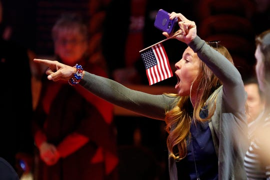 Katie Crowley yells during a campaign event for Republican U.S. Senate candidate Marsha Blackburn on Oct. 28, 2018, in Nashville.