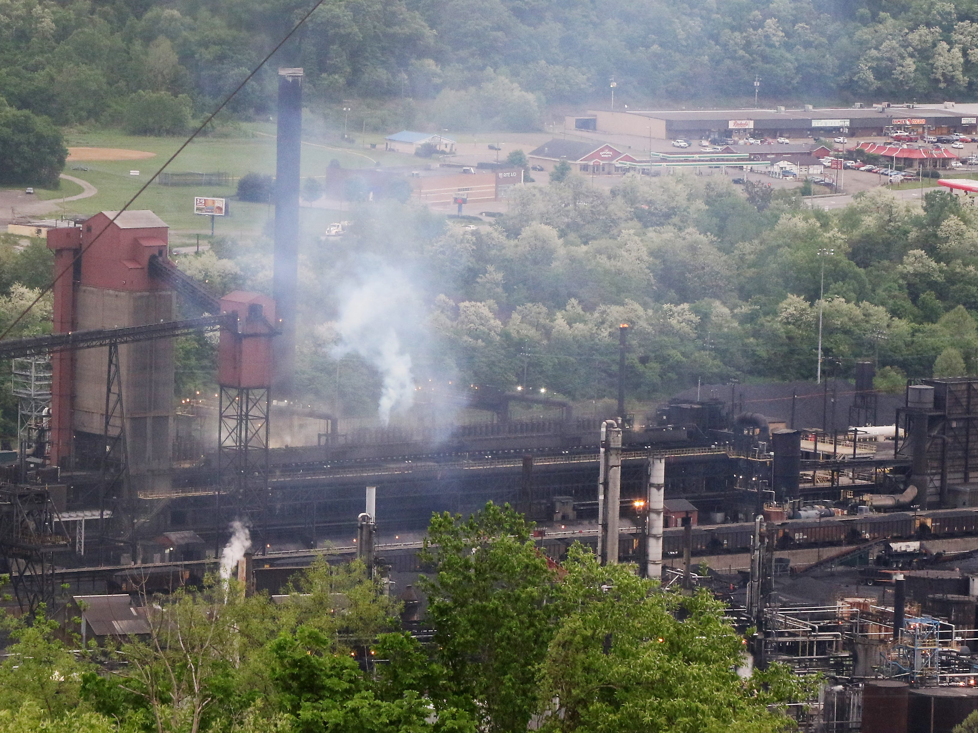 From atop a hill in Mingo Junction a West Virginia steel mill can be seen across the Ohio River.