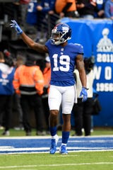 New York Giants wide receiver Corey Coleman (19) on the field before facing the Washington Redskins in Week 8 on Sunday, Oct. 28, 2018, in East Rutherford.