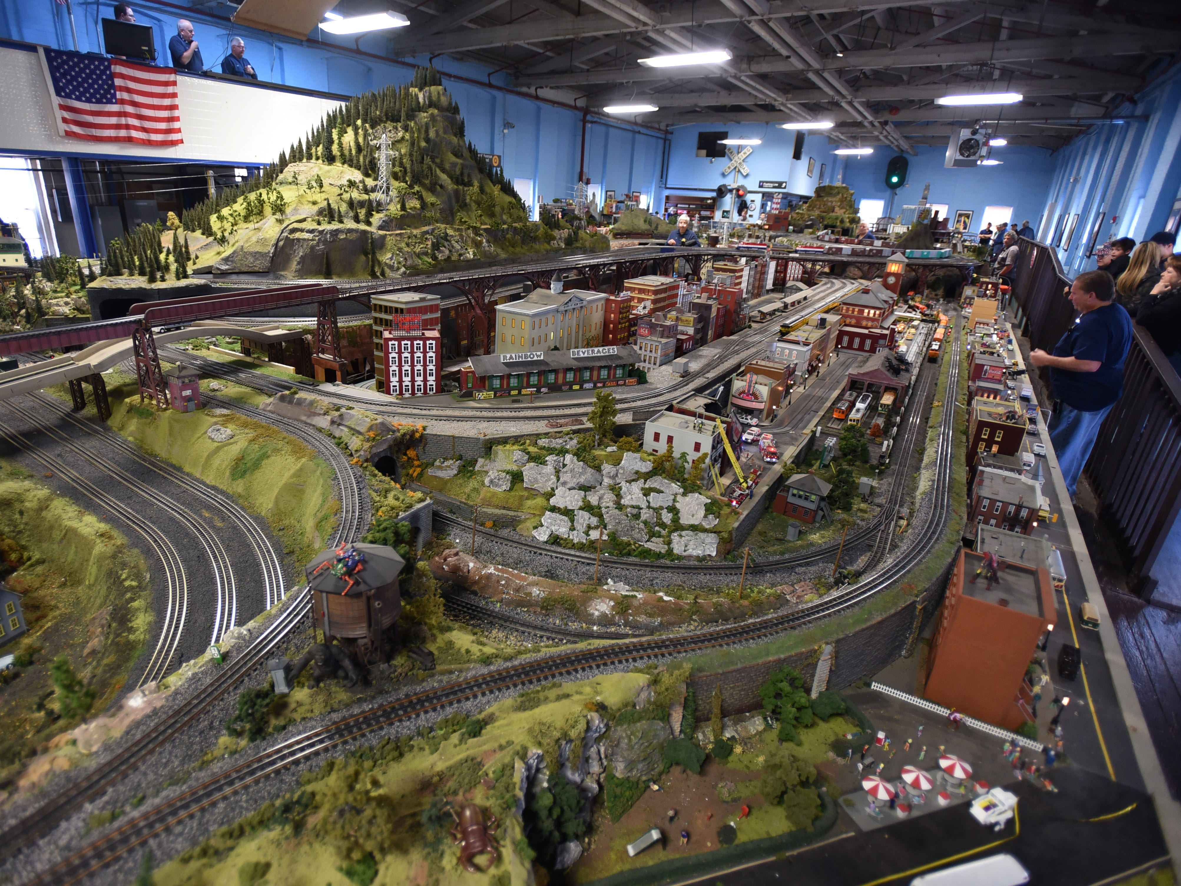 A view of the sprawling train layout.