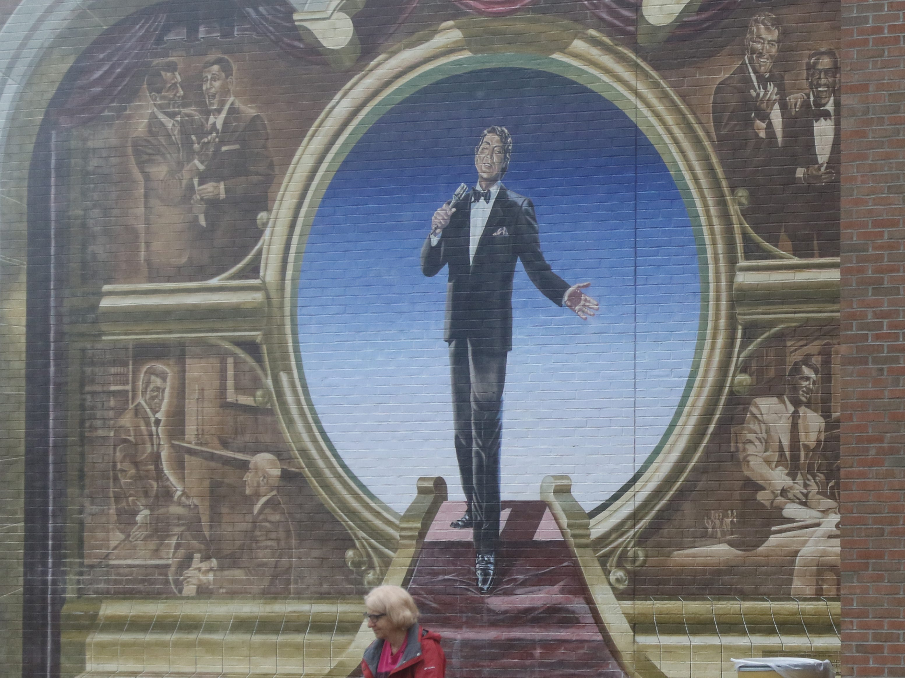 A mural of Dean Martin greets shoppers as they purchase groceries at a Kroger's Supermarket in Steubenville, OhioDean Martin was born and raised in Steubenville.