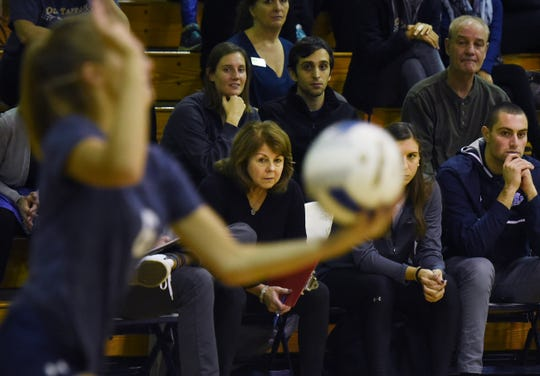 Head Coach Maria Nolan of IHA watches from the sideline as her team plays against Old Tappan in the first set during the 44th Bergen County girls volleyball tournament at NV/Old Tappan High School on 10/28/18. IHA won the championship 25 - 19, 25 -23.