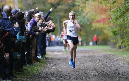Bobby Oehrlein, of Indian Hills is shown as he heads to the finish line at Darlington County Park in Mahwah. Oehrlein won the Bergen County Cross Country Championship in a time of 15:42.  Sunday, October 28, 2018