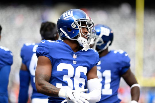 New York Giants safety Sean Chandler (36) on the field before facing the Washington Redskins in Week 8 on Sunday, Oct. 28, 2018, in East Rutherford.