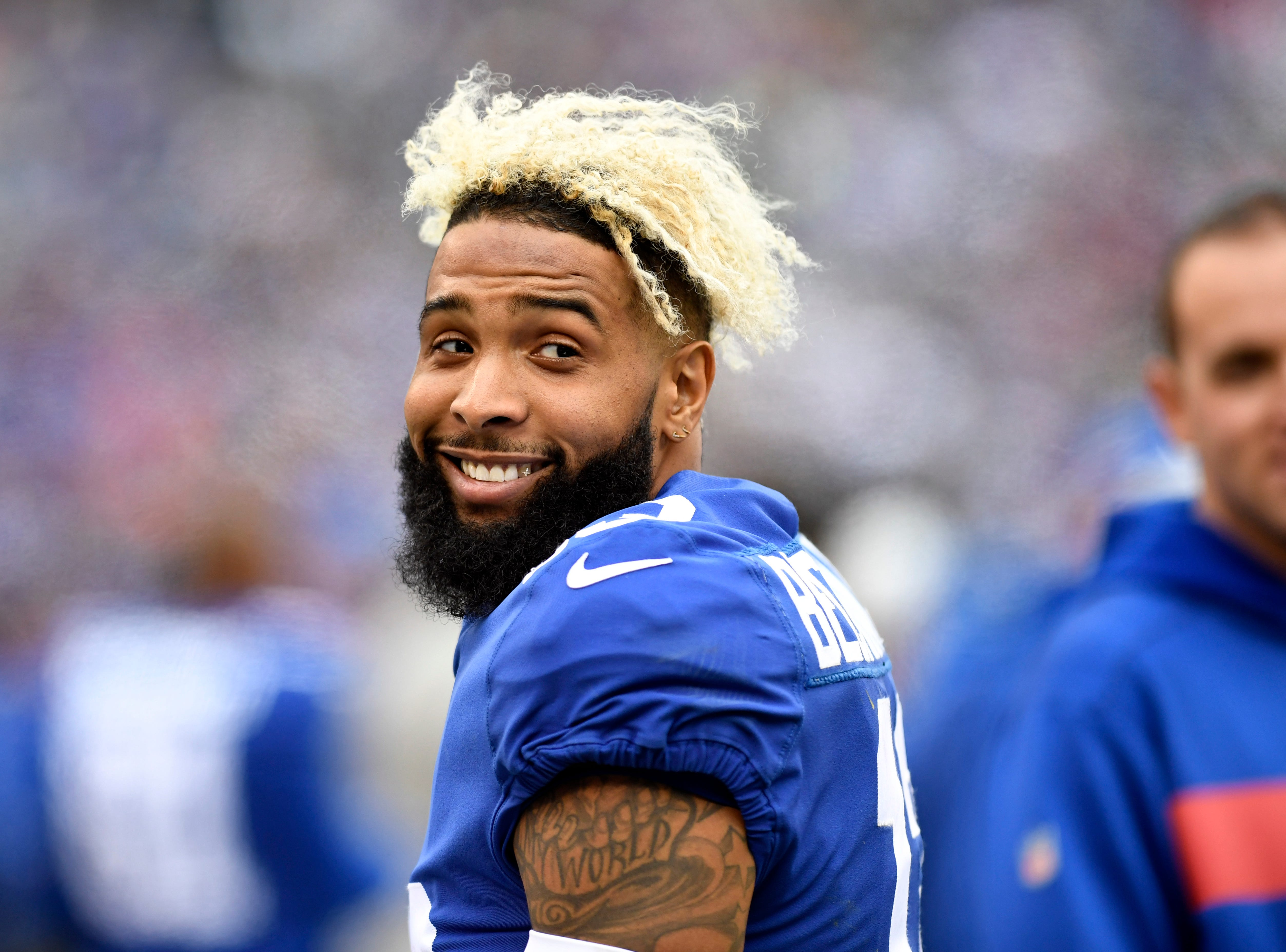 New York Giants wide receiver Odell Beckham Jr. (13) smiles at a photographer in the first half on Sunday, Oct. 28, 2018, in East Rutherford.